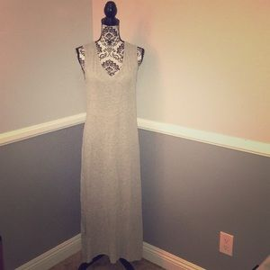Velvet Brand Gray Linen Midi Casual Maxi Dress!